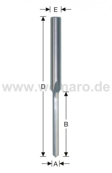 Wasserschlitzfräser HSS-E 8x30/62/100 mm S-8, Z-1 gerade m. Bsp.