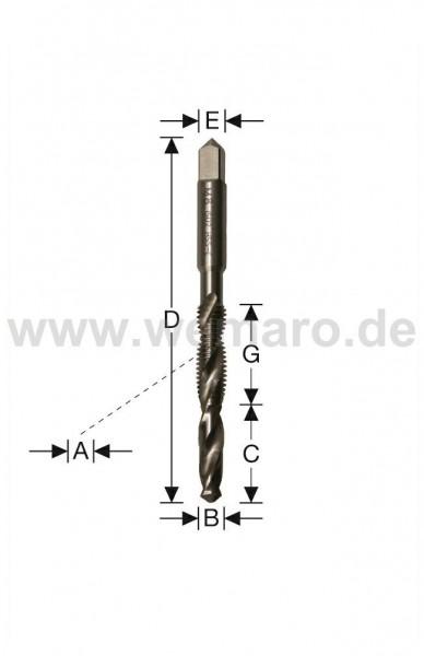 Kombi-Masch.gewindebohrer M8 6,8x26x25/95 S-8,0 mm HSS-E