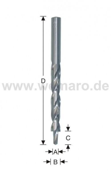 Stufenbohrer HSS d= 5,3x10/10,4x133 mm, 180°