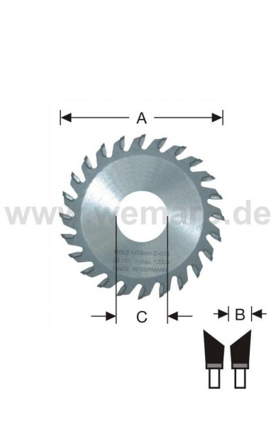 Glasleisten-Sägeblatt HM-bestückt 98x3,0x32 mm Z-36 links 45°, elumatec GLS