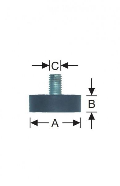 Gummipuffer d=25x10 mm, M-6