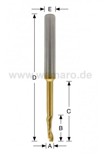 Einzahnfräser HSS-E TiN-beschichtet 5x16/45/90 mm S-8