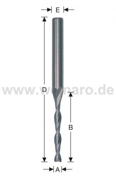 Wasserschlitzfräser HSS-E 5x30/90 mm S-8, Z-2 spiralig