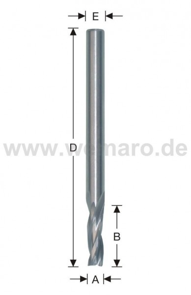 Dichtungsnutfräser VHM 6x25/100 mm S-8, Z-2 spiralig