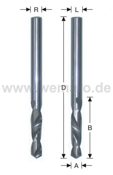Spiralbohrer VHM, zyl. links 3,5x20/52 mm