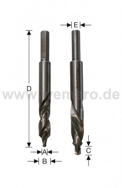 Olivenbohrer HSS CO 90° 5,5x7/13x52/115 mm, links Schaft 8 mit Fläche
