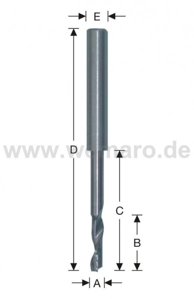 Wasserschlitzfräser VHM 5x20/45/90 mm, Z-1 spiralig mit Stahlschaft 8 mm