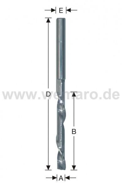 Einzahnfräser VHM 8x20/75 mm S-8 Rechtslauf/Linksdrall