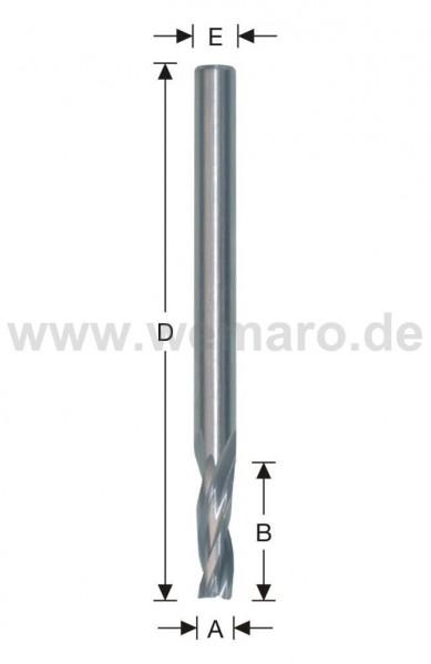 Dichtungsnutfräser HSS-E 7,5x16/55 mm S-6, Z-2 spiralig