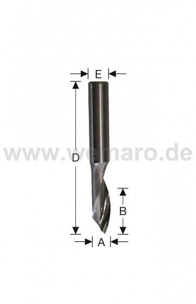 Einzahnfräser VHM 6x20/60 mm S-8 - Spiegelschliff -