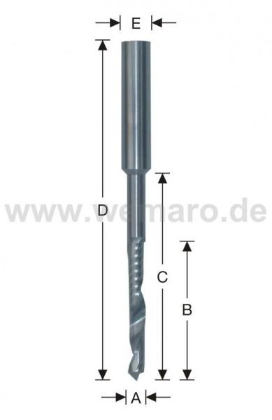 Wasserschlitzfräser VHM Spitze 90° 5x20/60 mm S-8, Z-1 spiralig