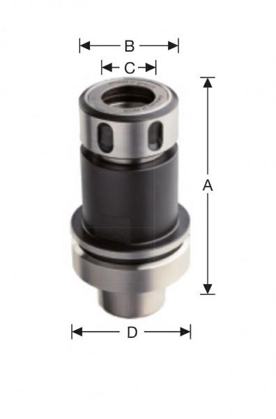 Spannfutter 077 HSK- F63 L=62 mm für Spannzangen 3-13 mm