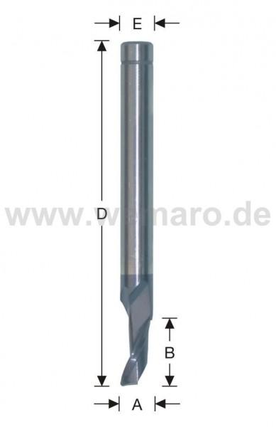 Einzahnfräser HSS-E für Stahl 8x14/80 mm S-8, beschichtet