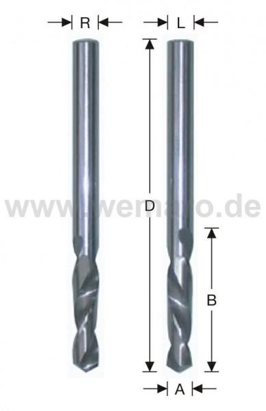 Spiralbohrer VHM, zyl. links 2,5x14/43 mm