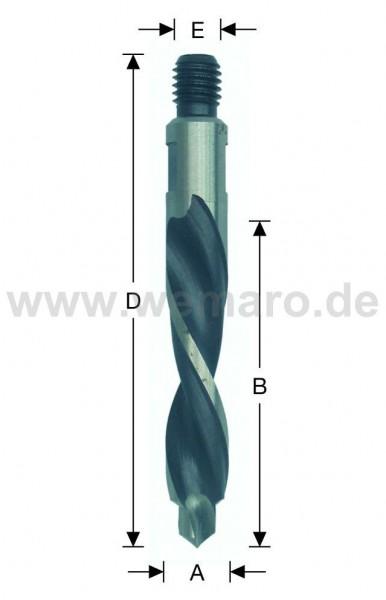 Olivenbohrer HSS-E, M-8 AG Konus 14x45/78 mm links, mit Vorbohrer