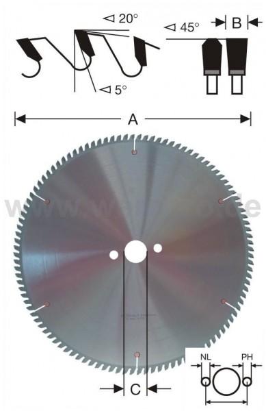 Kreissägeblatt HM-bestückt 600x5,0x80 mm Z-120 pos. 6 NL - 6/8/100 mm