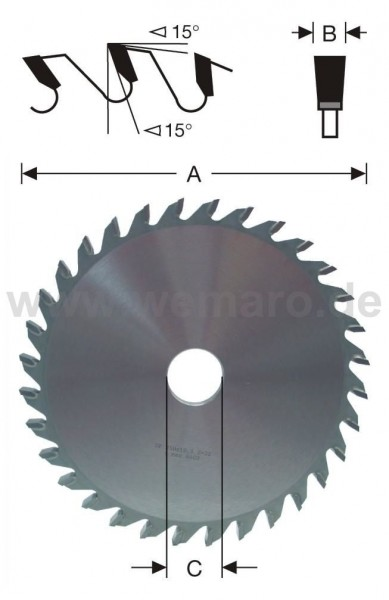 Ausklinkfräser HM-bestückt 250x8,0x40 mm Z-40