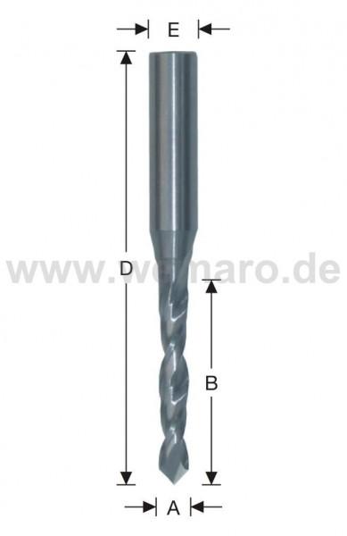 Wasserschlitzfräser VHM 5x40/80 mm S-5, Z-2 spiralig m. Bsp. 90°