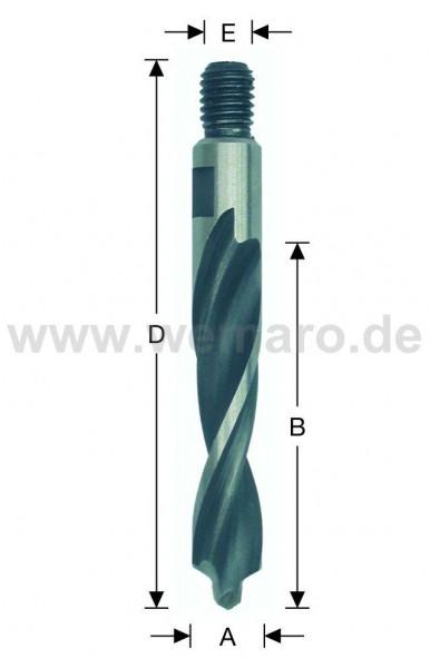 Olivenbohrer HSS-E, M-8 AG Konus 12x45/78 mm rechts, mit Vorbohrer