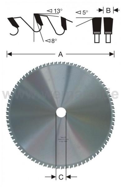 Kreissägeblatt HM-bestückt 355x2,6x30 mm Z-90 für Stahl