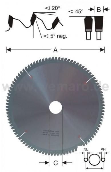 Kreissägeblatt HM-bestückt 250x3,2x40 mm Z-80 neg. 6 NL - 4/12/64-2/9/55 mm