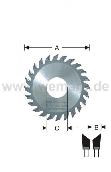 Glasleisten-Sägeblatt HM-bestückt 95x2,1x20 mm Z-20 rechts 45°