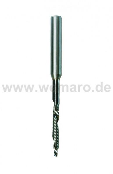 Wasserschlitzfräser VHM 2,7/5x30/50/100 mm RL/LD mit Stahlschaft 8mm