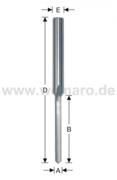 Wasserschlitzfräser HSS-E 5x45/90 mm S-8, Z-1 gerade m. Bsp.