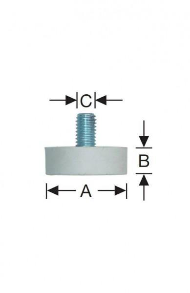 Gummipuffer d=30x10 mm, M-8 Sonderausführung -weiß-