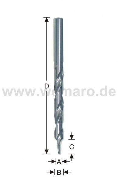 Stufenbohrer HSS d= 4,3x11/8x117 mm, 90°